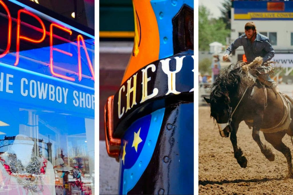 Cheyenne Wyoming boot, Man on horse at rodeo, Cowboy shop neon sign