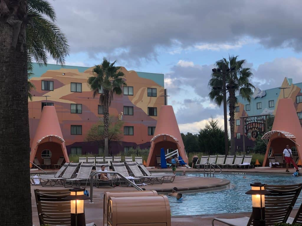 Disney Art of Animation pool with shell shade areas