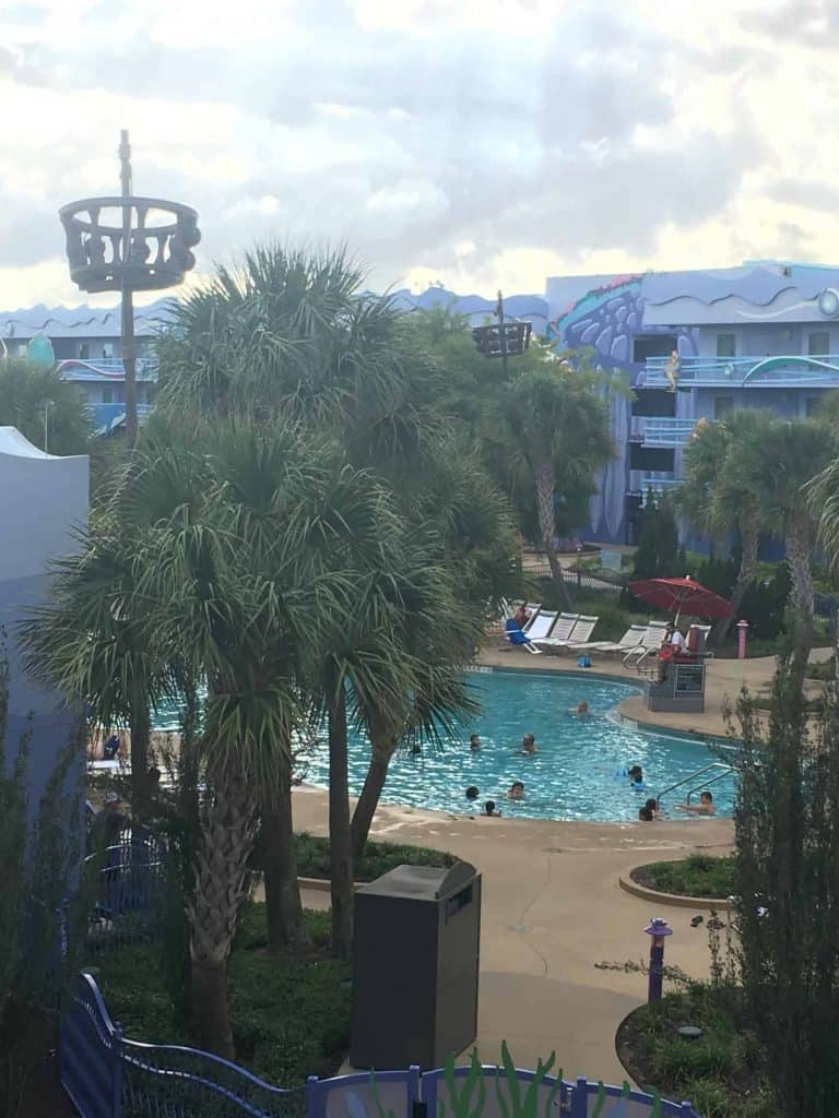 Disney Art of Animation pool with people swimming