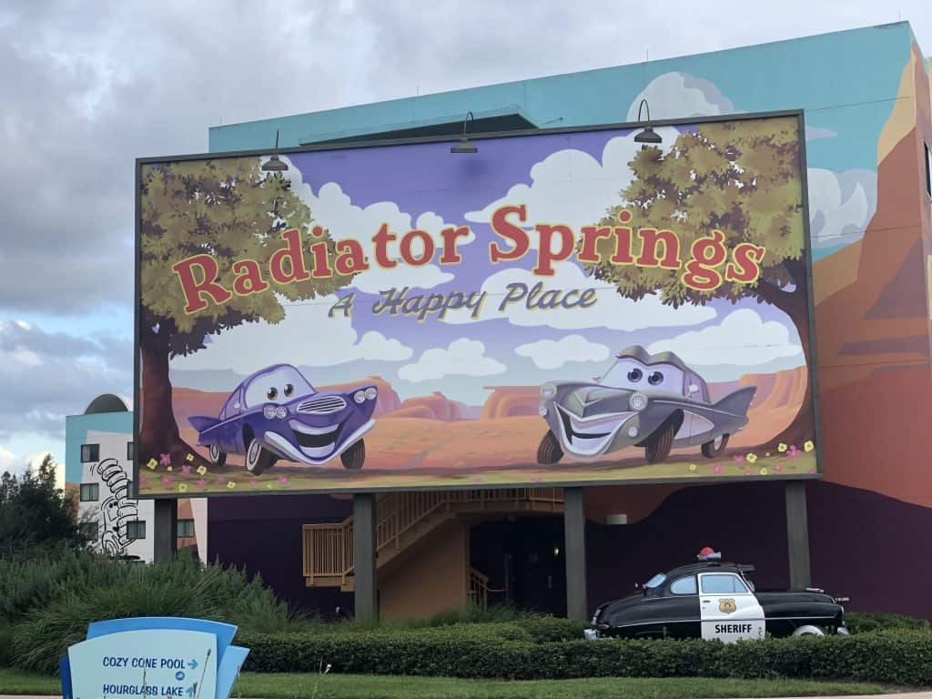 """A Cars movie sign saying """"Radiator Springs"""""""