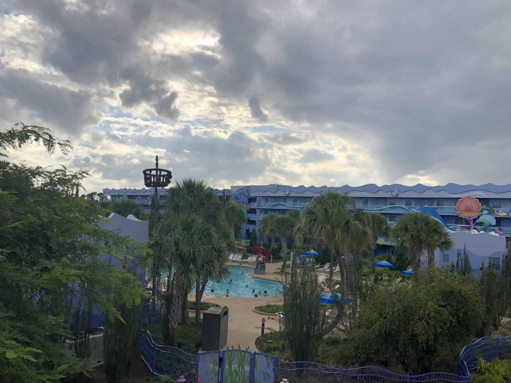 Disney Art of Animation review of the view from a room in the Little Mermaid area looking over the pool