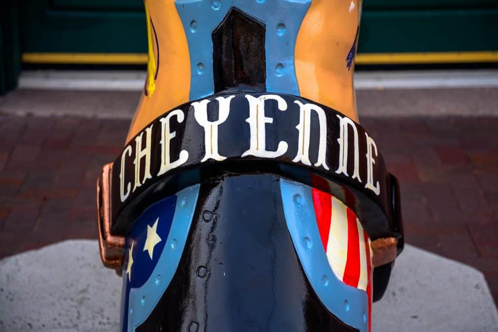 """A colorful cowboy boot with """"Cheyenne"""" written across it"""