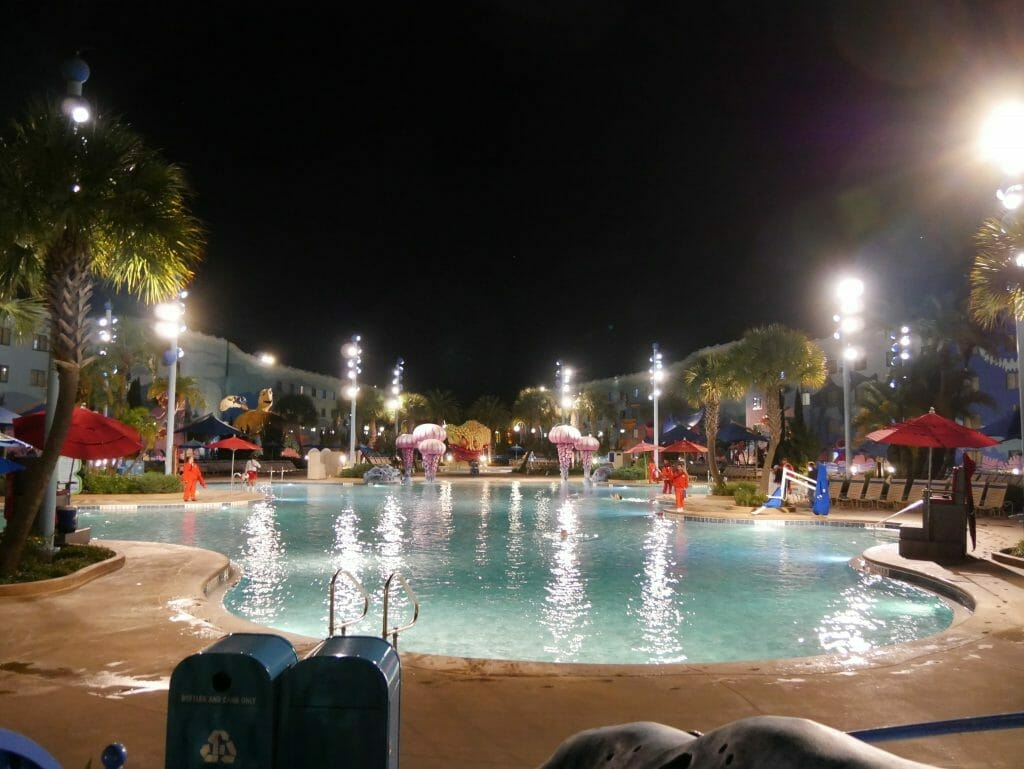 Disney Art of Animation pool at night
