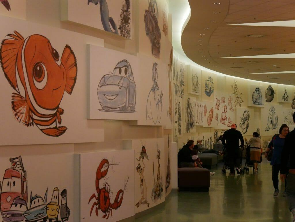 Disney's Art of Animation resort inside the lobby with hand-drawn animation images