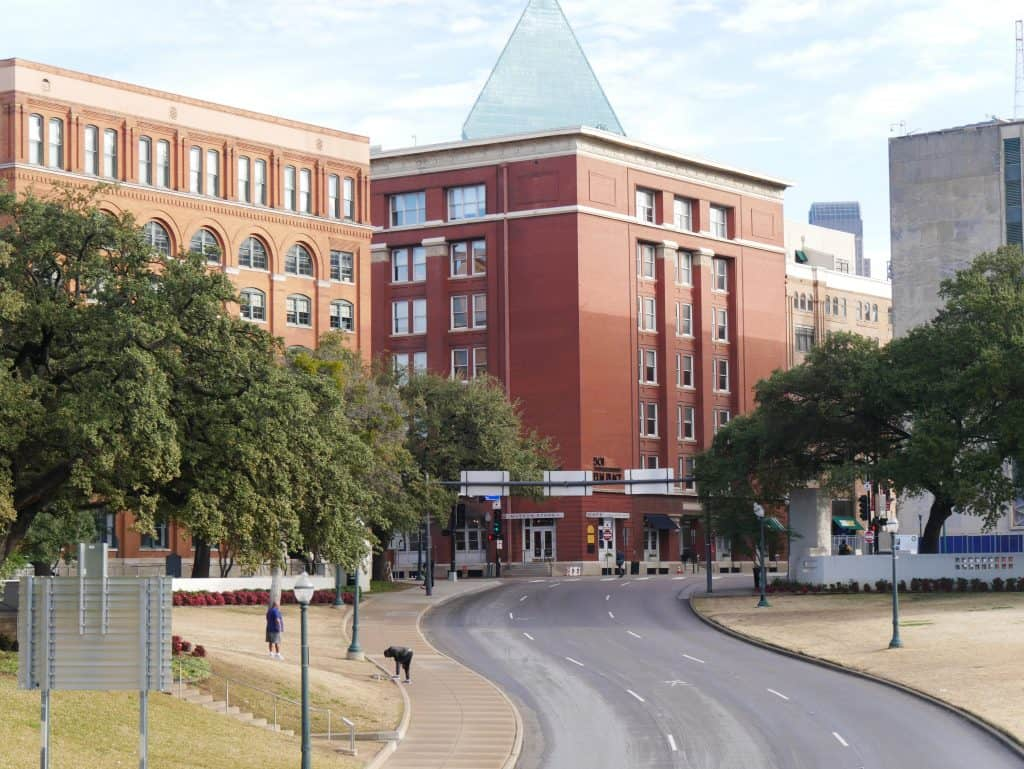 View of Old Book Depository Building in Dealey Plaza, Dallas, Texas