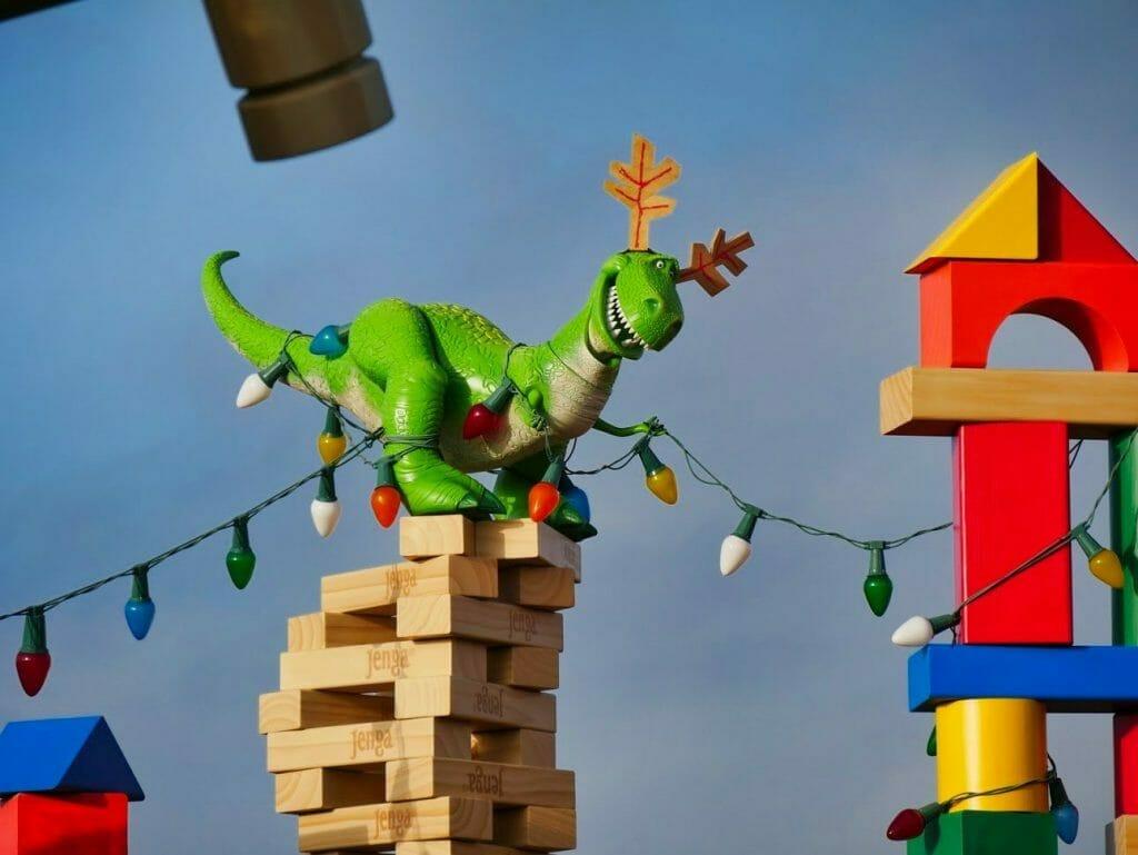 Reindeer antlers on Rex in Toy Story Land