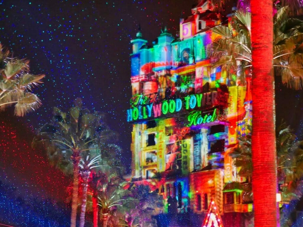 Christmas lights projections on the Hollywood Tower Hotel