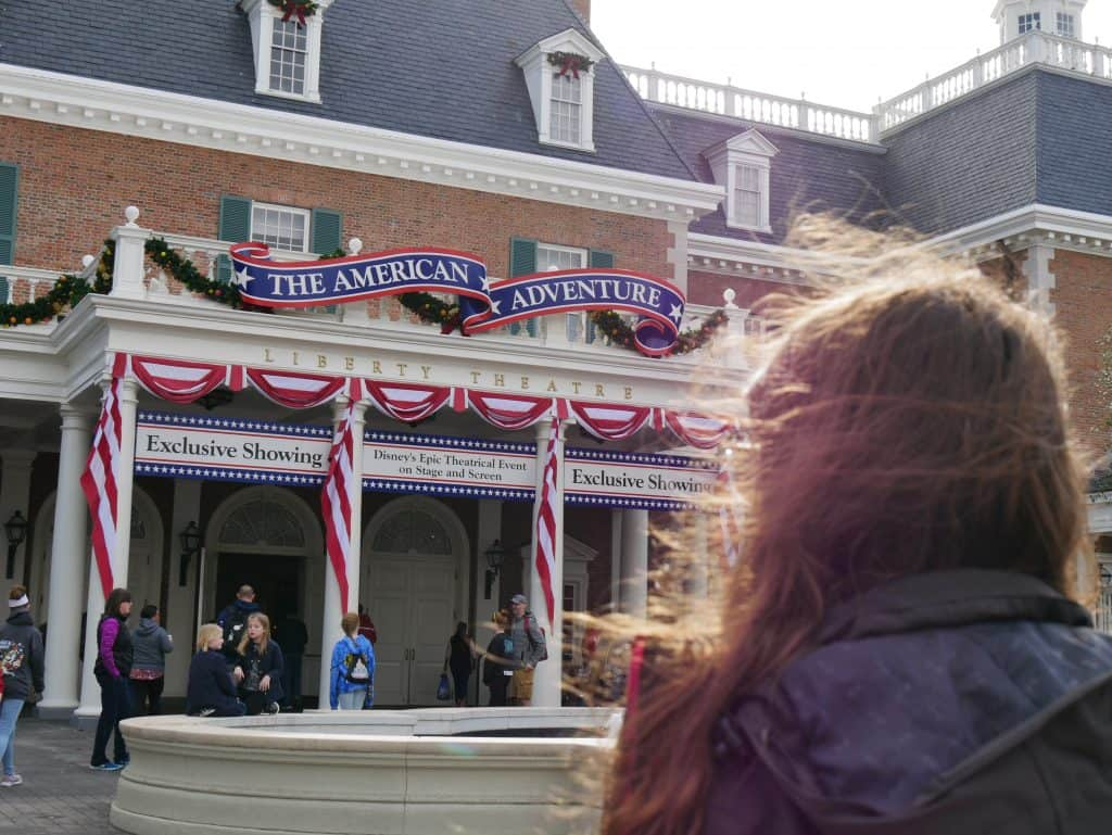 Standing in front of The American Adventure at Epcot