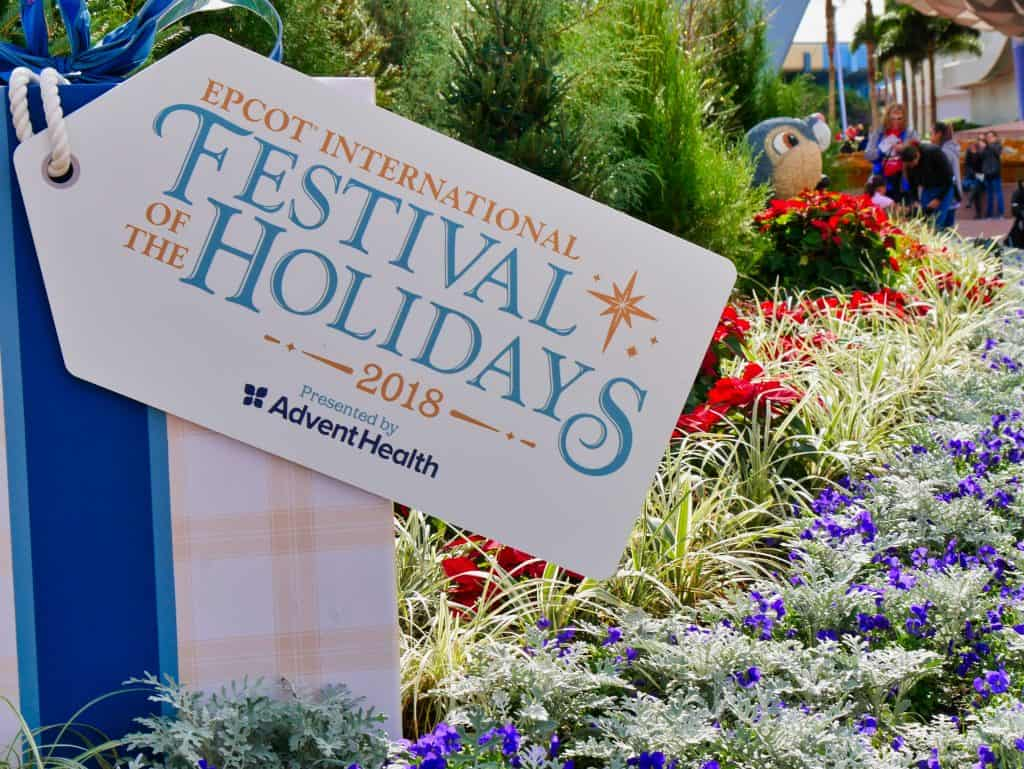 Festival of the Holidays sign at Epcot, Disney World at Christmas