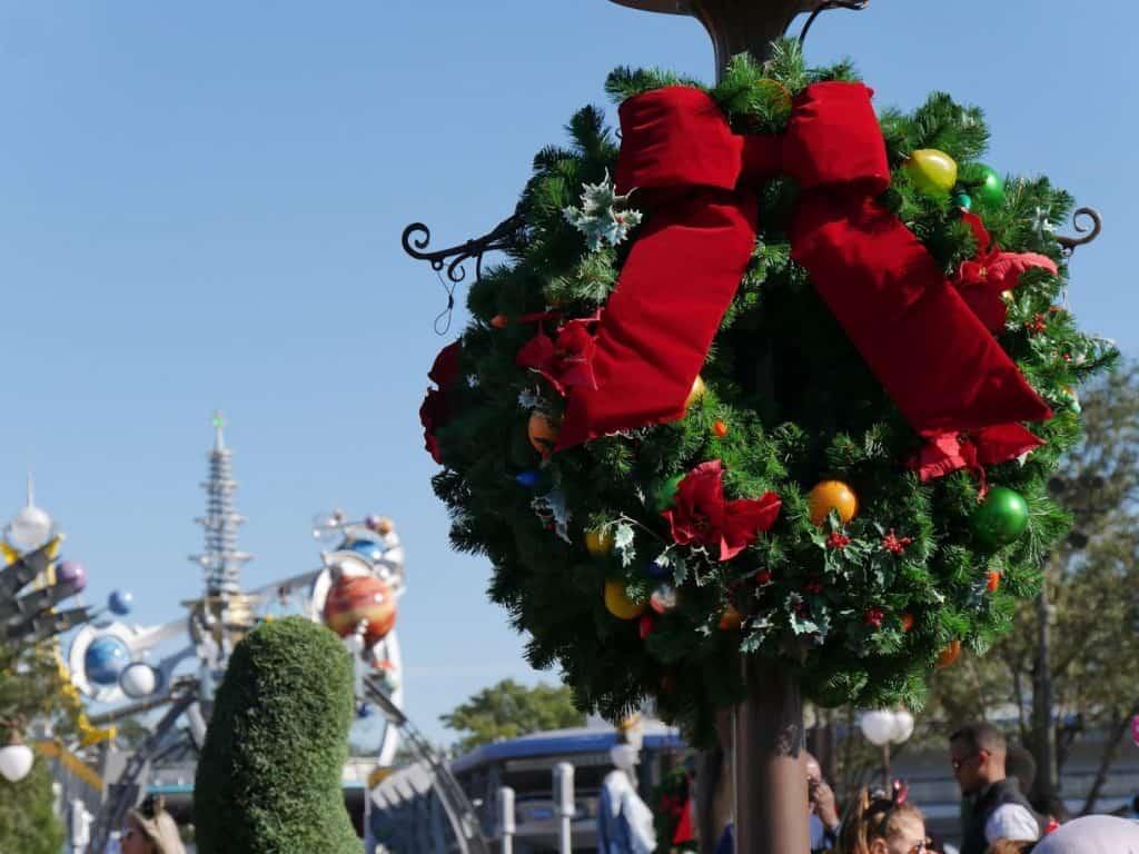 A Christmas wreath at the Magic Kingdom in Disney World at Christmas