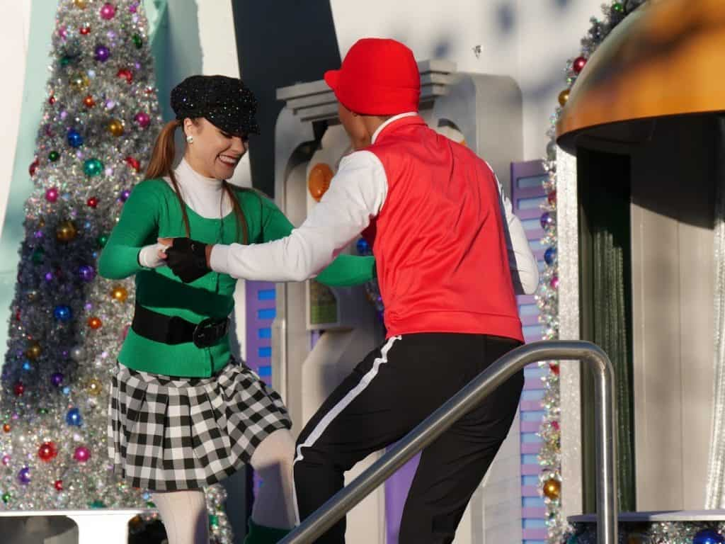Dancers on stage at the Magic Kingdom in Disney World at Christmas