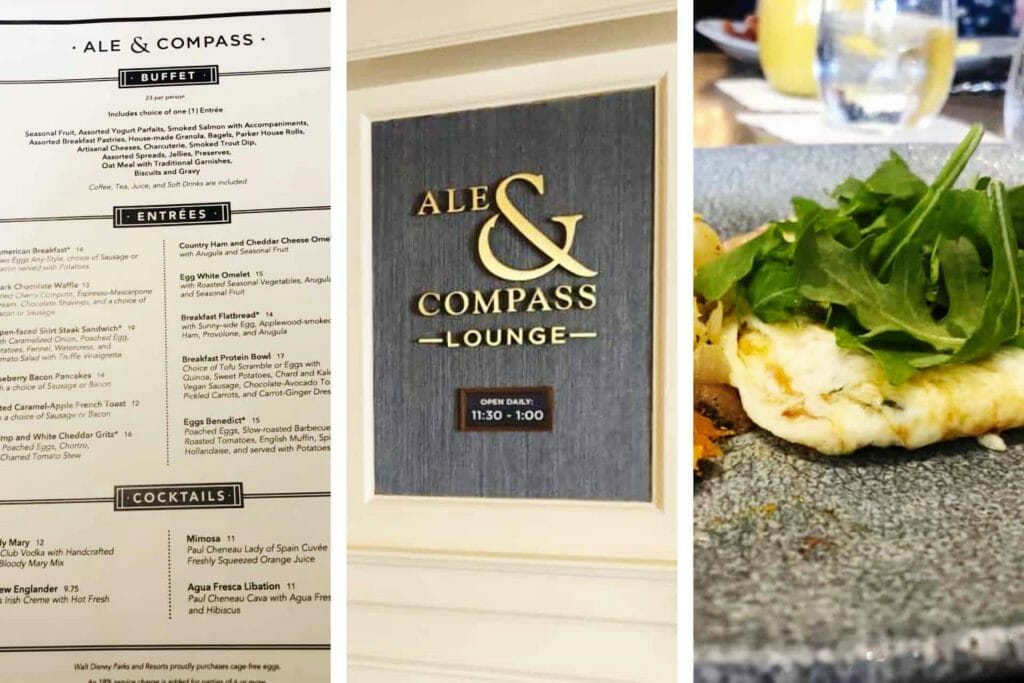 Food menu, entrance sign, and food on a plate at Ale and Compass Lounge at Yacht Club, Disney World