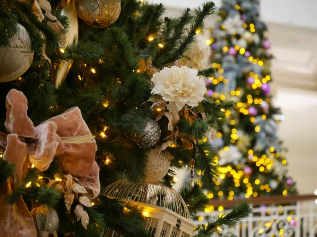 Close up of a Christmas tree at the Grand Floridian Disney World resort at Christmas