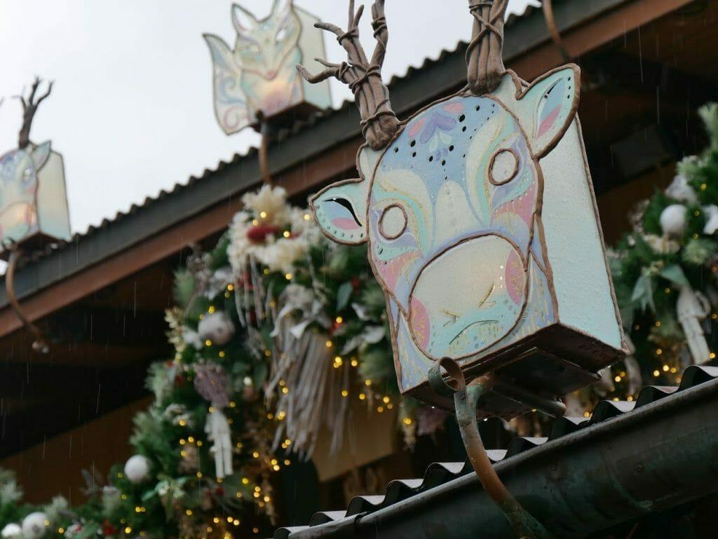 Decorations on a shop at Disney World's Animal Kingdom at Christmas