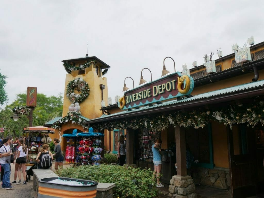 A shop decorated for Christmas at Animal Kingdom