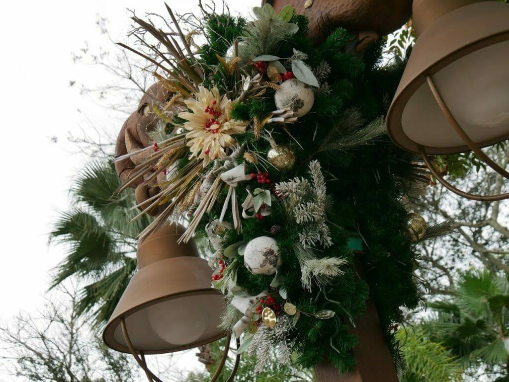 Decorative Christmas wreath at Disney World's Animal Kingdom at Christmas