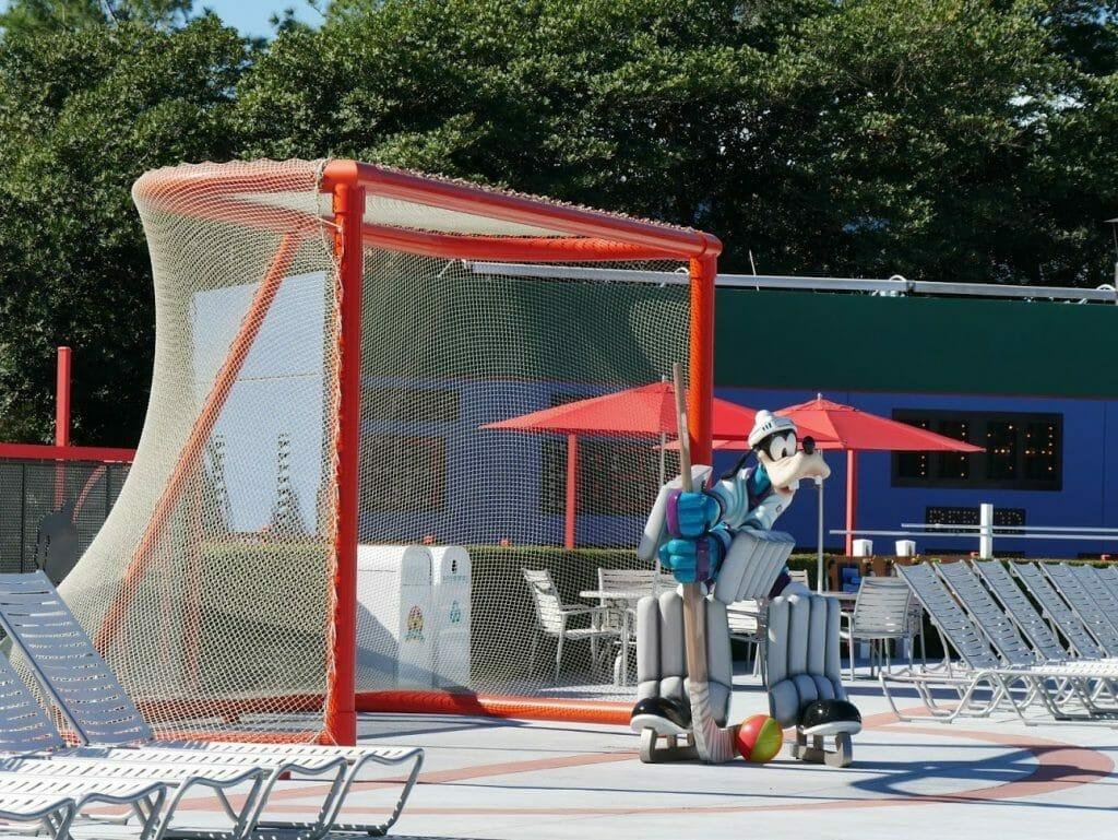 Goofy as Ice Hockey keeper in Mighty Ducks Pool of Disney All-Star Movies resort