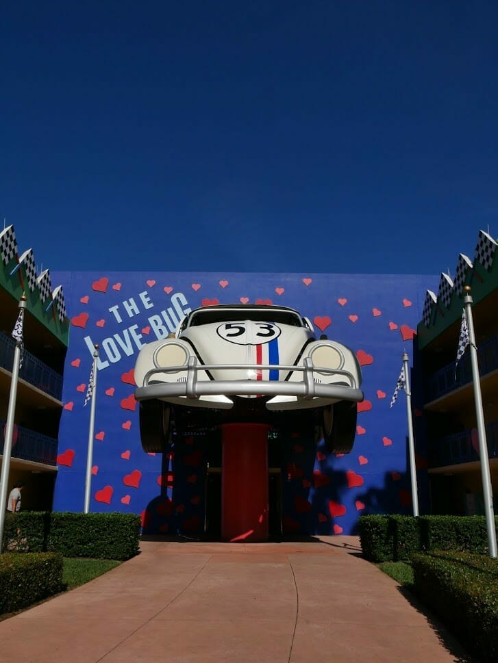 Disney All-Star Movies resort Herbie The Love Bug coming out of a wall