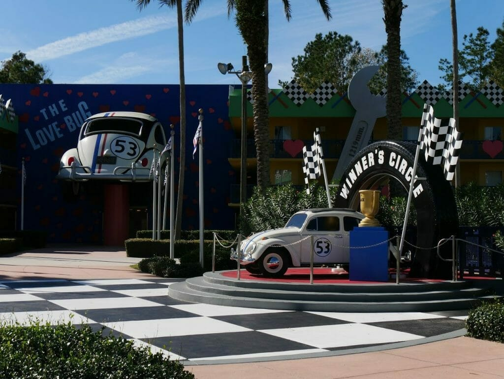 Disney All-Star Movies resort review Herbie cars on podium and going in to a wall