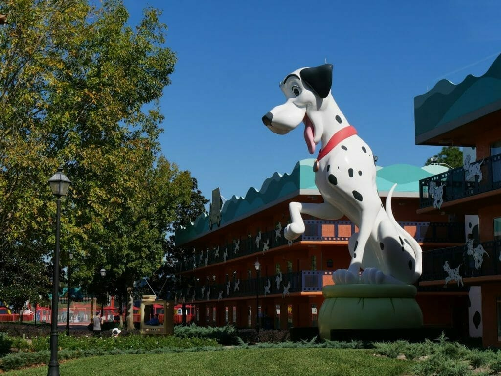 A giant Dalmatian outside rooms at Disney All Star Movies
