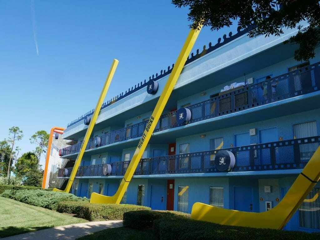 Hockey stick on the front of a hotel building at Disney World All-Star Movies review