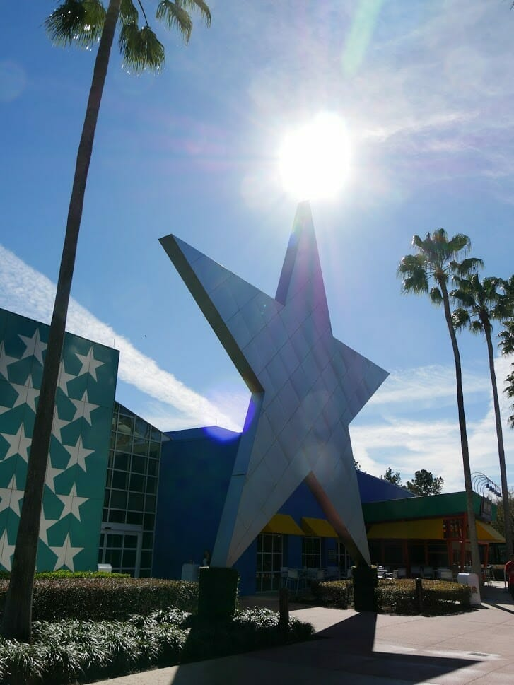 A giant star with the sun behind it at All-Star Movies review