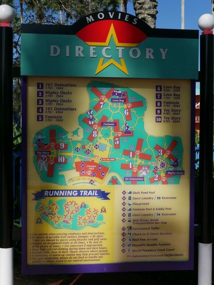 Disney All-Star Movies resort directory map