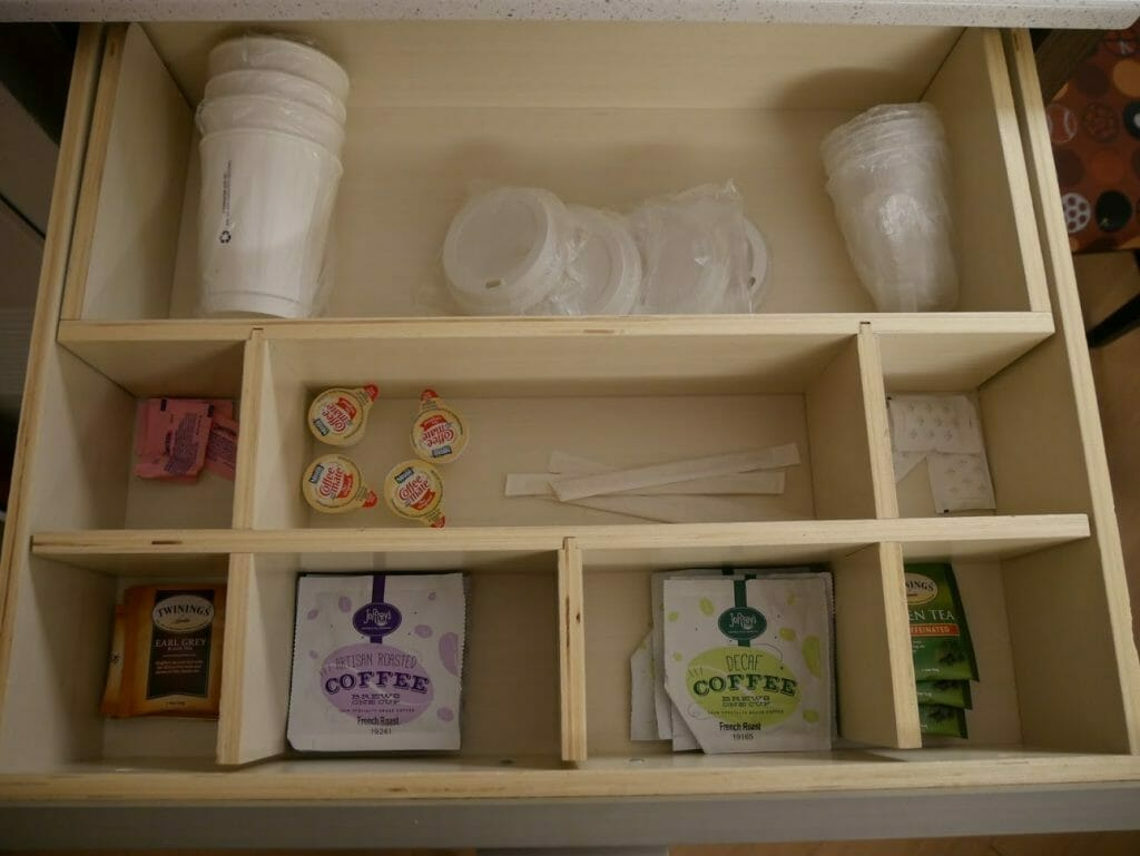 Disney All-Star movies room review tea and coffee supplies