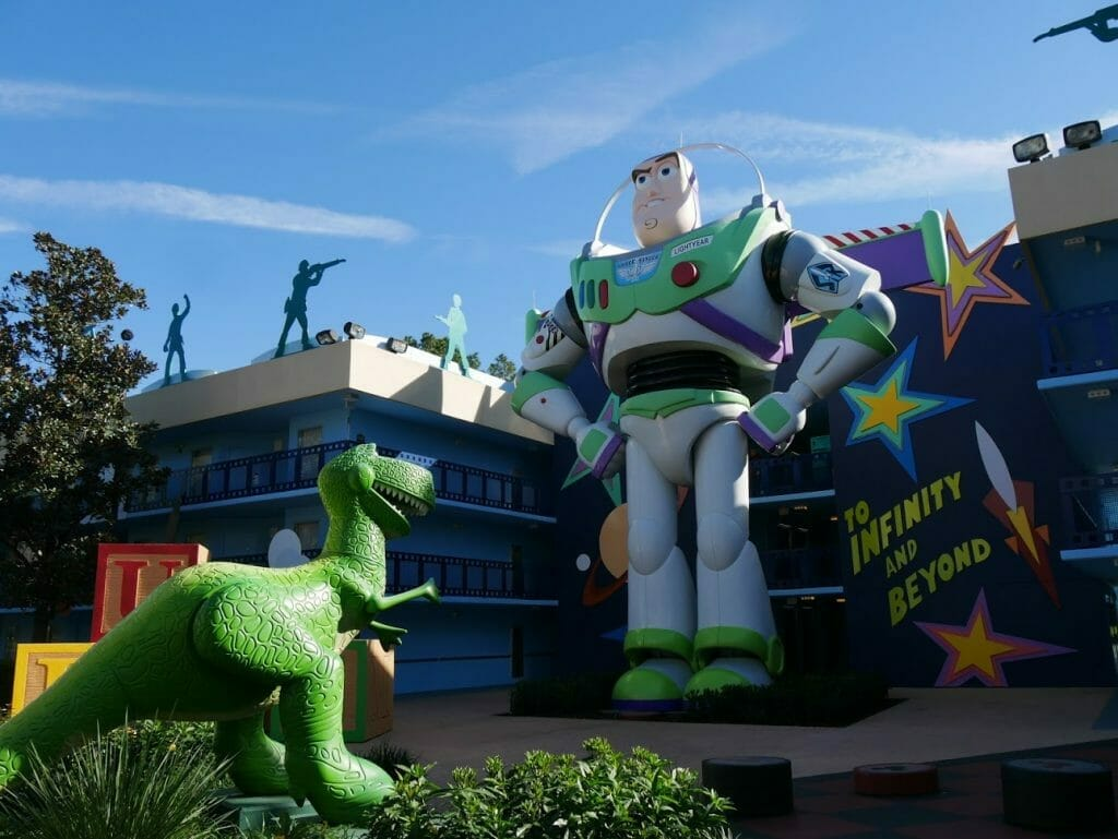 Disney All Star Movies resort Toy Story area with Buzz Lightyear and Rex