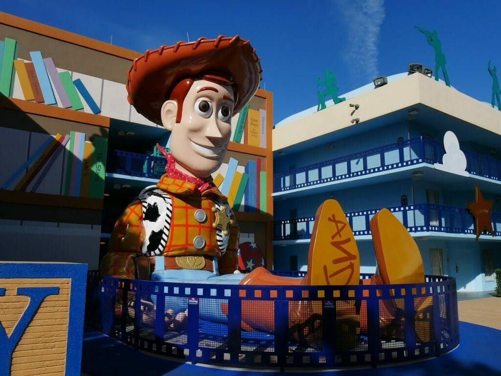 Disney All Star Movies resort Toy Story area with a giant Woody