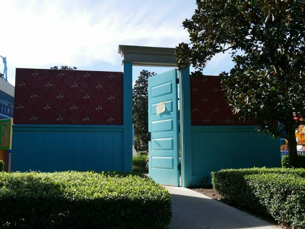 Disney All Star Movies resort Toy Story area with a giant entrance to Andy's room
