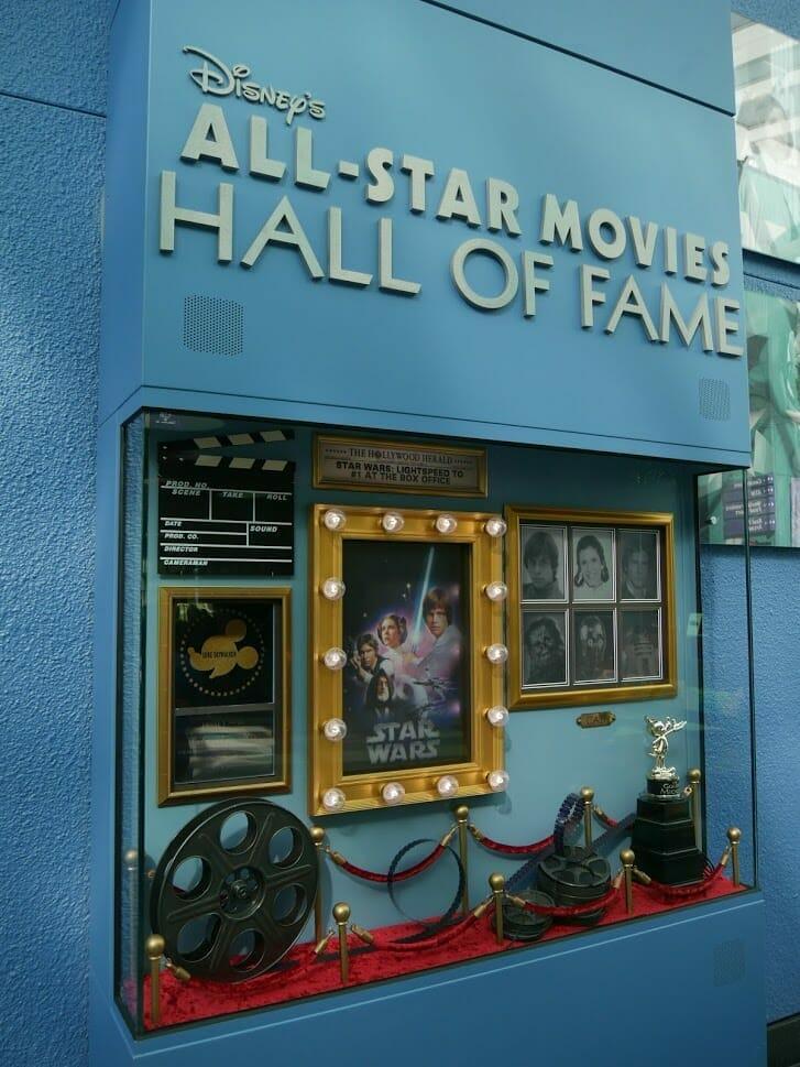 Disney All-Star Movie Resort Lobby Hall of Fame Star Wars display area