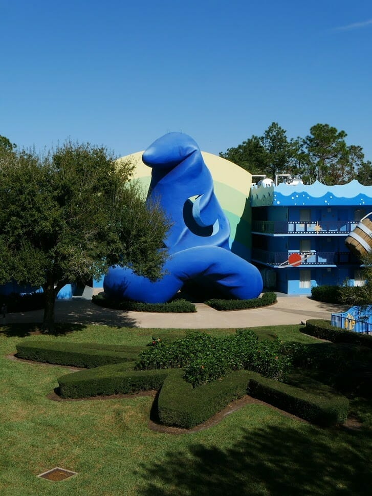 Disney's All Star Movies resort giant Fantasia Mickey hat outside hotel building