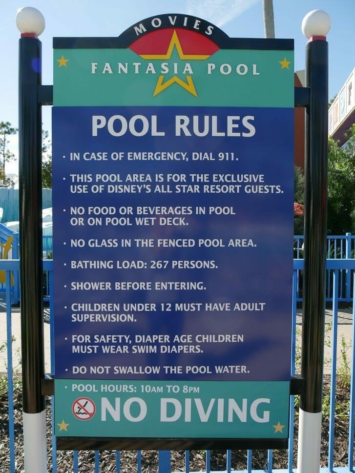 Pool rules sign at Disney World All Star Movies resort