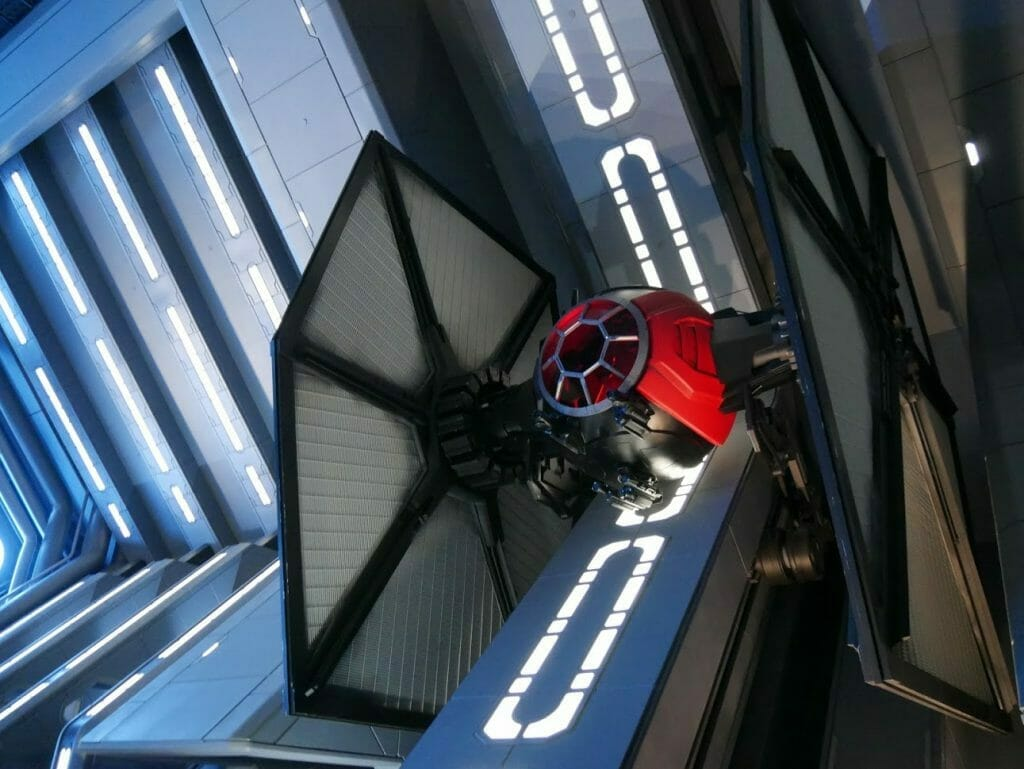 A Tie Fighter in the Rise of the Resistance queue