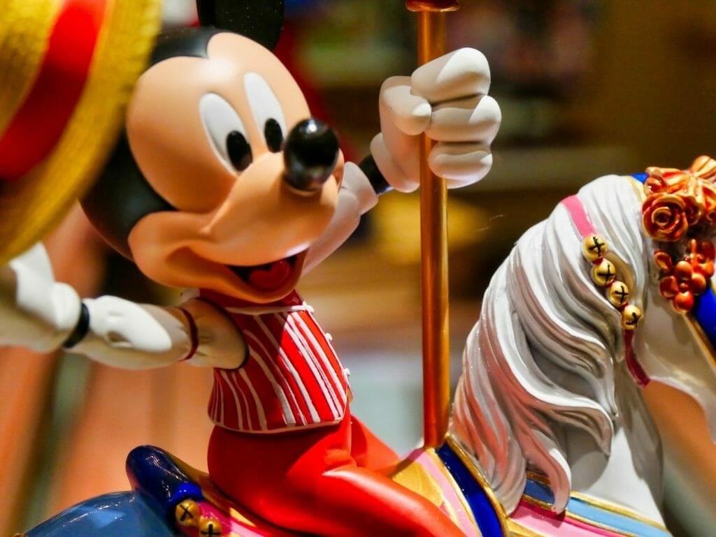 A Mickey House on a carousel horse statue