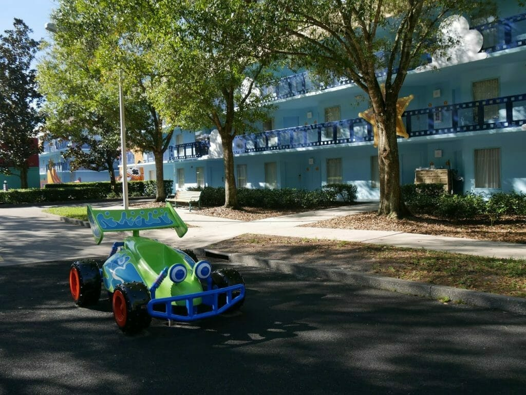 A model of RC in the road at All Star Movies resort Disney World Orlando