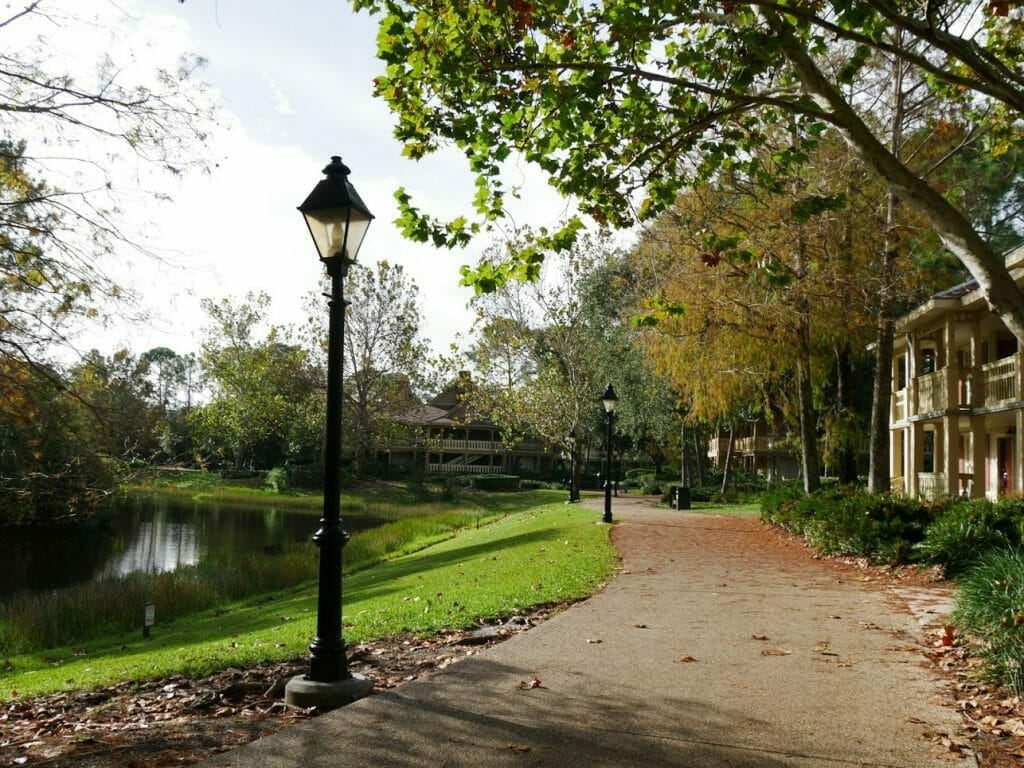 A path with a lantern at Port Orleans Riverside resort