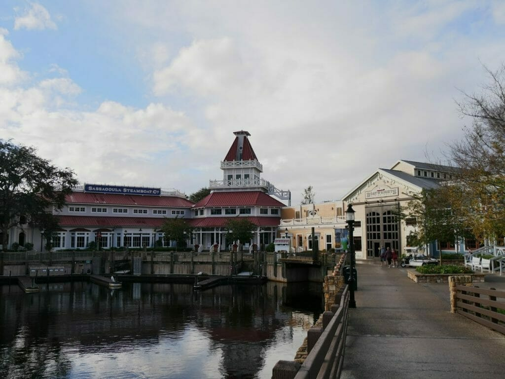 The bridge over to the main buildings at Port Orleans Riverside Disney World Orlando