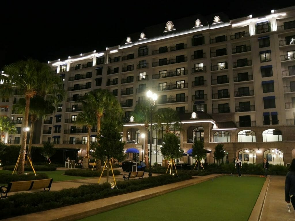 Riviera Resort Disney World with a bowling green in front