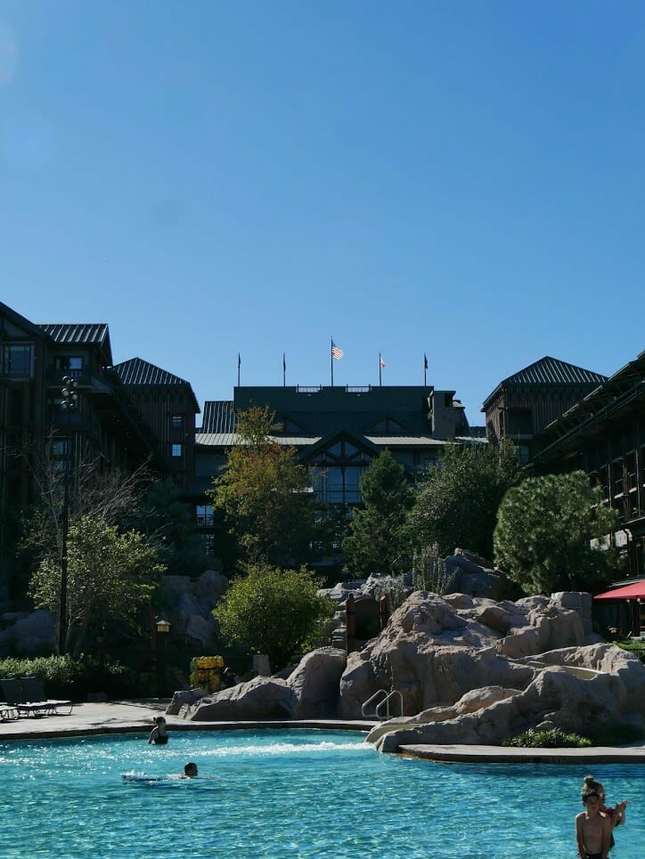 Disney World Wildnerness Lodge resort with pool in front