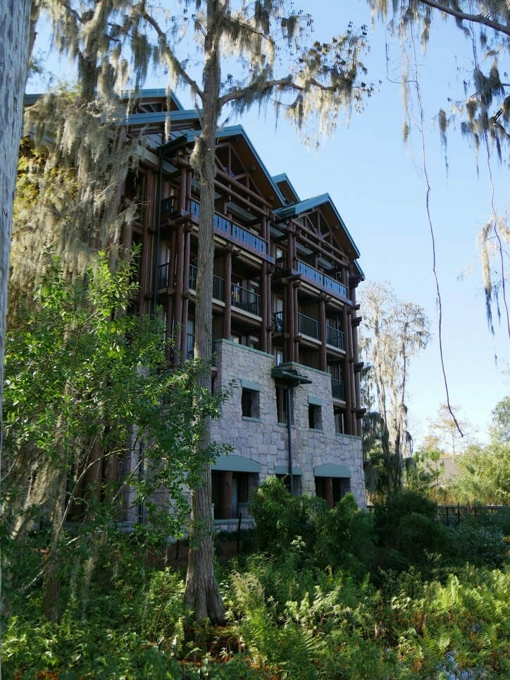 Outside of hotel rooms at Disney's Wilderness Lodge resort