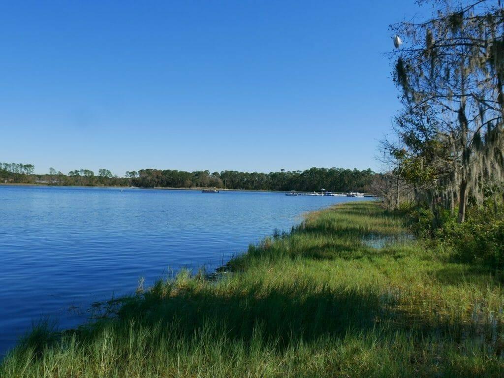 The lake at the back of Wilderness Lodge resort Disney World Orlando