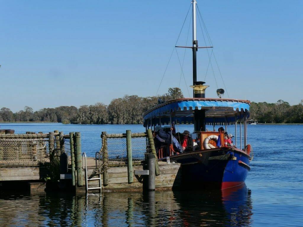 Boat to Magic Kingdom outside Wilderness Lodge resort Disney World