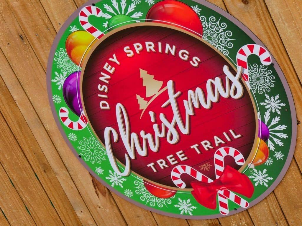 Disney Springs Christmas Tree Trail sign