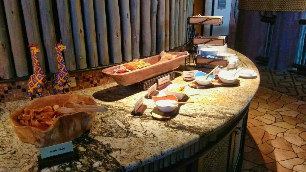 A table of food at Animal Kingdom Lodge