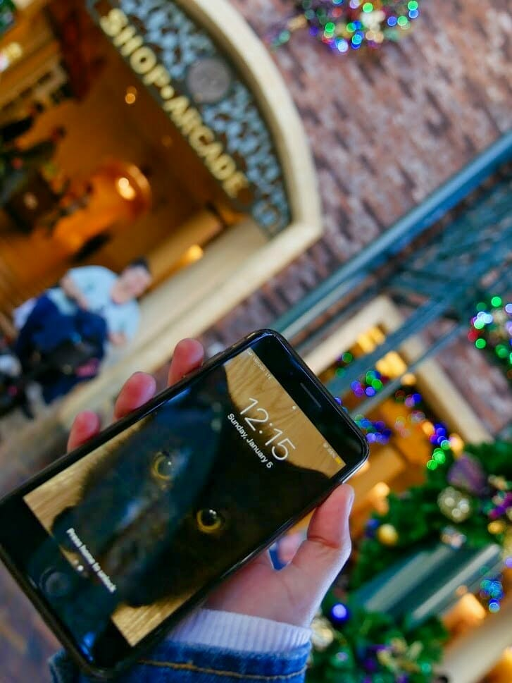 A phone with the time on during the Disney Resort Hopper Challenge
