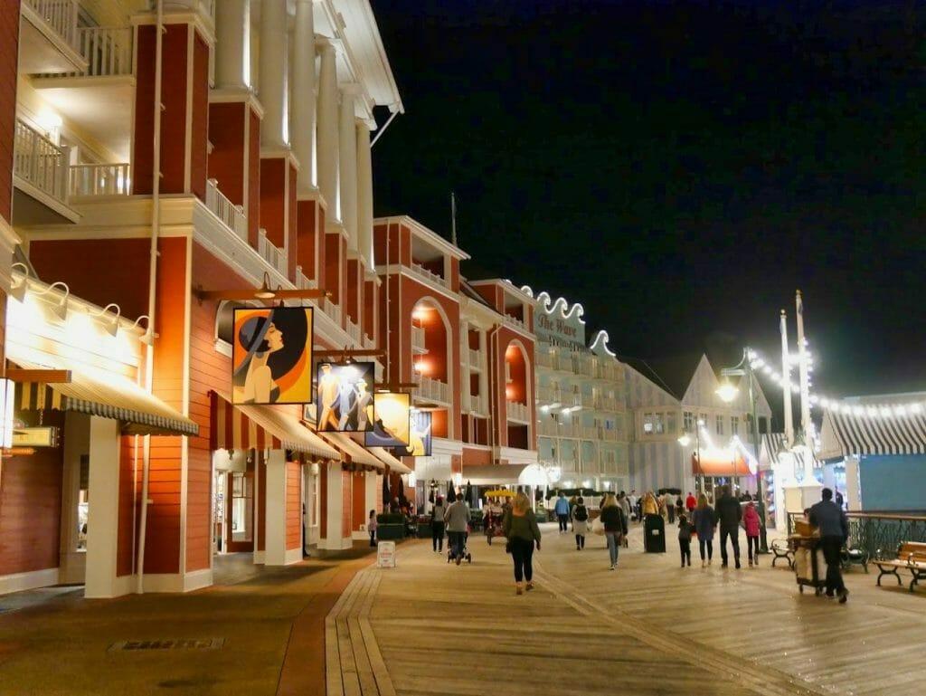 The Disney Boardwalk at night