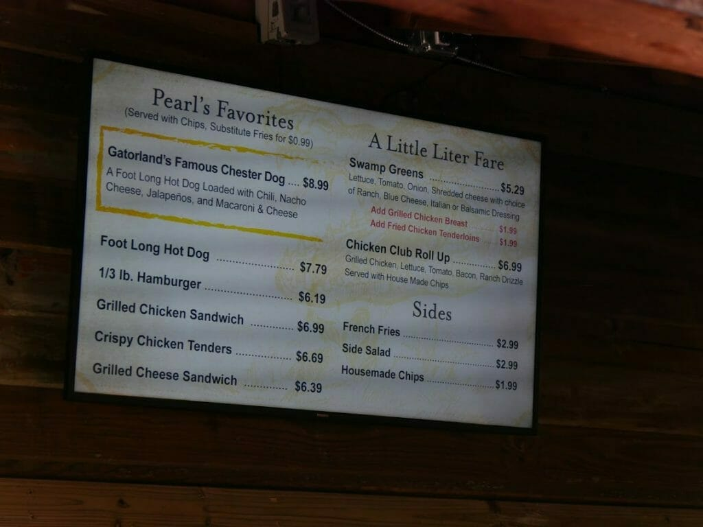 Food menu with prices