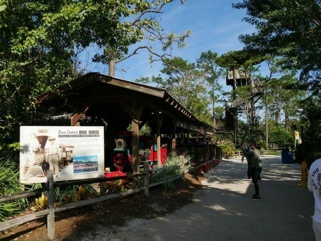 The steam train and strain station at Gatorland Florida